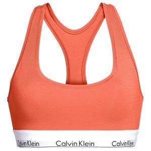 CALVIN KLEIN - Bralette Cotton Stretch oranžová - športová podprsenk